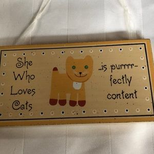 """Kitty wooden wall hanging! 6""""x3"""""""